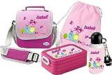Mein Zwergenland Set 5 Kindergartentasche, Brotdose, Trinkflasche und Turnbeutel Happy Knirps mit Namen, 4-teilig, rosa