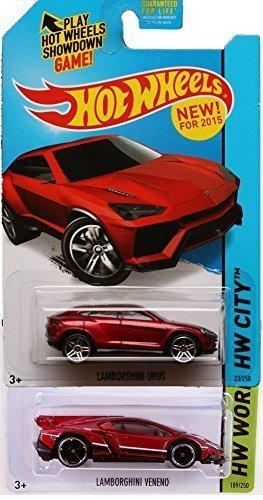 Hot Wheels 2015 Lamborghini 2-Car Set: Veneno and Urus Metalflake Red Set #23 & 189/250 by Mattel