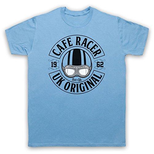Cafe Racer UK Original Motorcycle Ton Up Herren T-Shirt Hellblau