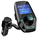 Bluetooth FM Transmitter Patuoxun Car Radio Transmitter MP3 Player Transmitter Hands-free Calling Car Kit In-Car USB Charger 1.44-inch Screen With 3.5mm Audio Input Port