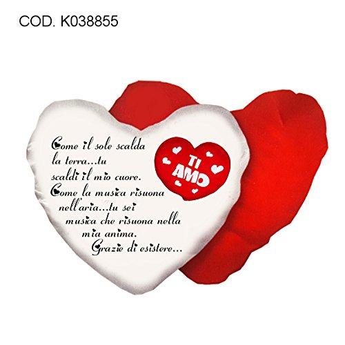 k038855 Cuscino Cuore in Poliestere con Scritta Poesia Ti Amo cm 40x40 Idea Regalo