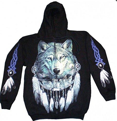 hwarz Herren Damen Pulli mit Motiv Wolf Gothic Punk Pullover Kaputzen Biker Jacke M-XL black Sherpa Hoodie Sweatshirt Kaputzen Pulli #14 4632: Größe: XL (Känguru Kostüm Mit Tasche)