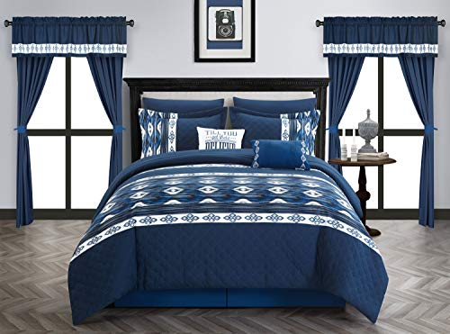 Chic Home Safforn 20 Piece Comforter Set Color Block Geometric Ikat Embroidered Bag Bedding-Sheets Pillowcases Window Treatments Decorative Pillows Shams Included, King Navy (Navy King-size-pillow Shams)