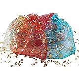 Lot de 100 grandes sachets en organza de couleur pastel avec motifs de cœur argentés et dorés – Dimensions : env. 18 x 13 cm – Pochette à bijoux colorée pour cadeaux, stockage de bijoux ou emballage