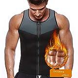 Vertvie Homme T-Shirt Compression Amincissant Manches Courtes Blouse Top Gilet de Sudation Zip Minceur Sauna Shaper pour Sport Musculation Perdre du Poids (3XL, Noir Zip B)