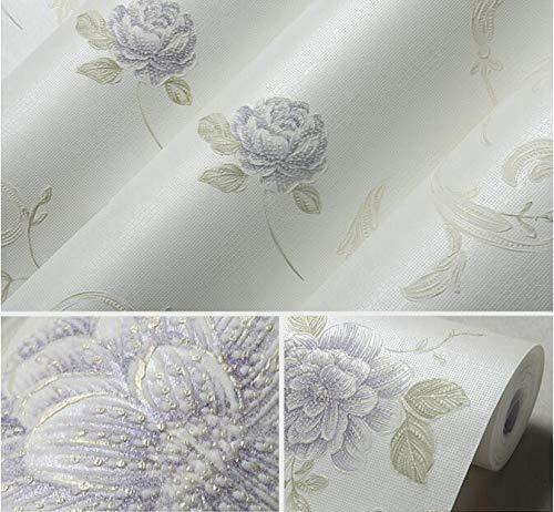 SQBZ Tapete frische pastoralen Blumen gestempelt Floss Vliestapete Wohnzimmer Schlafzimmer Kinder Hochzeit Zimmer Tapete X, Light Purple X-8324, nur Tapete (Floß Blume)