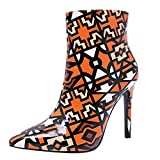 Frauen Stiletto Spitz Stiefel Zipper Boots High Heel Ankle Martin Damen Schuhe Heels Plateau KnöChel Stilettos Schnallen Womens Autumn-Winter Sneaker Kurz Stiefeletten(Orange,36)