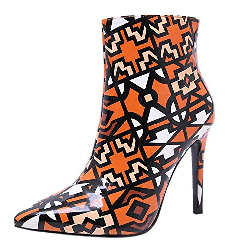 OYSOHE Damen High Heel, Mode Graffiti Reißverschluss Ankle Boots Frauen Stiletto Spitz Stiefel Winter Damenschuhe(Orange,41 EU)