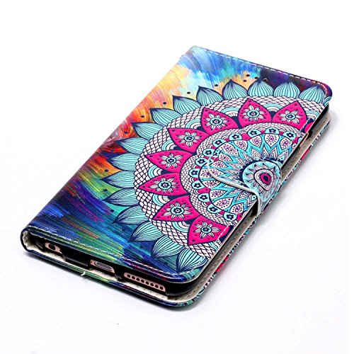 iPhone 6S Plus Hülle,iPhone 6 Plus Case,iPhone 6S Plus Cover - Felfy PU Ledertasche Strap Flip Standfunktion Magnetverschluss Luxe Bookstyle Ledertasche Nette Retro Mode Painted Muster Abdeckung Schut Relief Blume