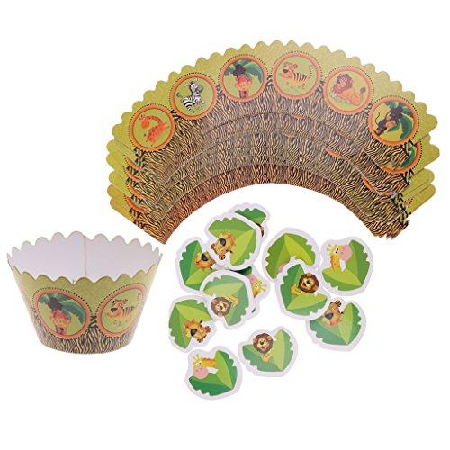 Party Wald Supplies (MagiDeal 24 Stück Cupcake Toppers Kuchen Picks Baby Dusche Dekor - Wald)