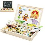 Babyhugs Magnetische Schreibtafel für Kinder, aus Holz, Spielzeug-Tafel, Kreidetafel, Weißwandtafel, doppelseitig, zum Zeichnen, Staffelei–Wald, Zoo-Paradies