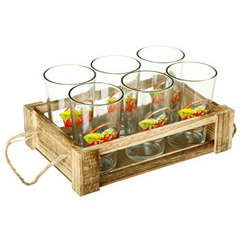 2 en 1 :Coffret de 6 verres à orangeade + cagette en bois pour plateau