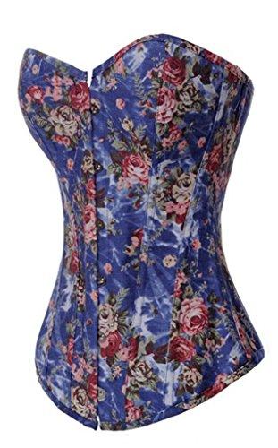 Alivila. Y Fashion Frauen Korsett Sexy Vintage Floral Denim Taille Trainer Korsett Gr. XXL / Brust 37 - 39 Inch, Taille 31 - 33 Inch, Blue Plus Size (Zurück Up Lace Panty)