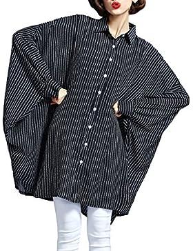 ELLAZHU raya botón de la blusa de cuello de polo cierre GA 03