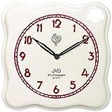 JVD TS2615.3 Küchenuhr Wanduhr Küche Quarz analog Keramik weiß rot Keramikuhr