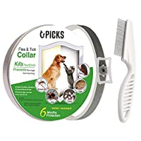 U-picks Flea Tick Collar Dogs Cats,6 Month No-Toxic Protection Tick Control,Natural Essential,Non-Allergy Waterproof-Grey