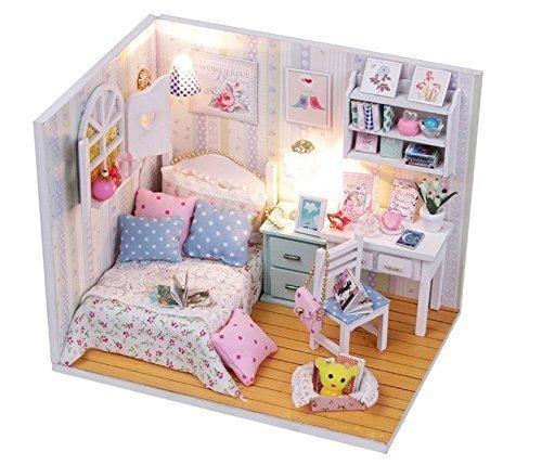 VPlus Schöne Puppenhaus Miniatur DIY Montage Modell 3D Puzzle Gebäude Spielzeug Geschenk Kit Schlafzimmer Mini Haus Geschenk mit Abdeckung und LED-Licht