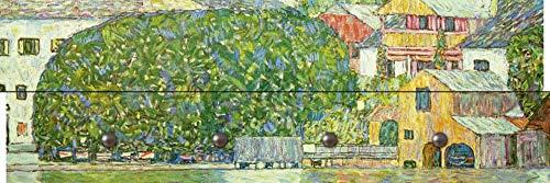Artland Qualitätsmöbel I Garderobe mit Motiv Holz-Paneele mit 4 Haken 90 x 30 cm Architektur Gebäude Malerei Grün H2LS Kirche in Unterach am Attersee