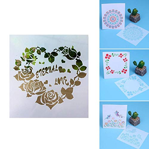 Holo Cute Malvorlagen für Kinder Reusable Painting Stencil Laser Cut Drawing Kit for DIY Decor, Painting on Wood, Airbrush, Rocks and Walls Art (Rose)