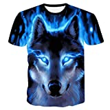 Herren Kurzarm Wolf 3D Print Tier Cool Funny T-Shirt Sommer Top T-Shirt Herrenmode T-Shirt Male4XL
