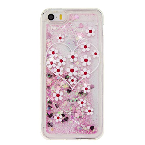 Coque iPhone 5s , Glitter Liquide TPU Etui Coque pour iPhone SE ,CaseLover Winnie l'ourson MMotif Mode Etui Coque Dynamic Etoiles Paillettes Sable TPU Slim pour Apple iPhone 5 SE Mode Flexible Souple  Amour