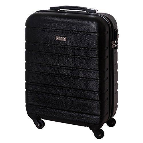 Karry Handgepäck Bordgepäck Hartschalen Koffer für Kurzreisen Urlaub Reisen Businesskoffer Trolley Case TSA Schloss 30 Liter Schwarz 815
