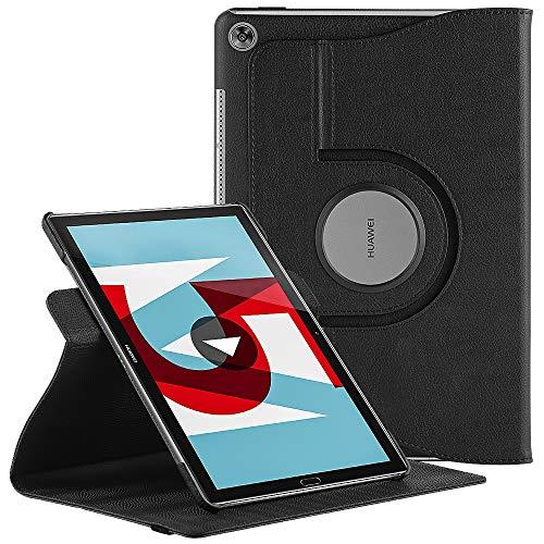 EasyAcc Hülle für Huawei Mediapad M5 10.8/10.8 Pro, 360 Grad Drehung Schutzhülle Flip Case Book Cover Lederhülle mit Standfunktion/Auto Sleep - PU Leder (Schawz - 360 Grad Drehung)