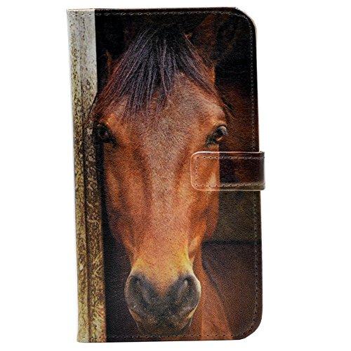 all Muster Geldbörse Leder Kreditkarte Halter Tasche Flip Stand Schutzhülle für Apple iPhone 7Plus, Close-up of Horse's Face ()