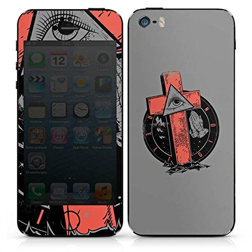 Apple iPhone SE Case Skin Sticker aus Vinyl-Folie Aufkleber Kreuz Auge illuminati Gothic DesignSkins® glänzend