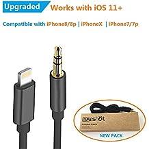 IPhone 7 y 7 más Sunshot relámpago a 3,5 mm macho cordón auxiliar de oro - Premium auriculares adaptador a estéreo de coche (3,5 mm cable Aux 3,3 pies) (negro)