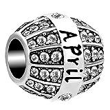 April Birthstone Spacer Crystal Month Charm Bead for European Snake Bracelets Necklace