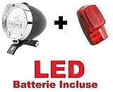 KIT Fanale NERO Luce Anteriore + Fanale Posteriore al parafango LED bicicletta Olanda - R - Graziella - Vintage - City Bike - Uomo / Donna - BATTERIE INCLUSE