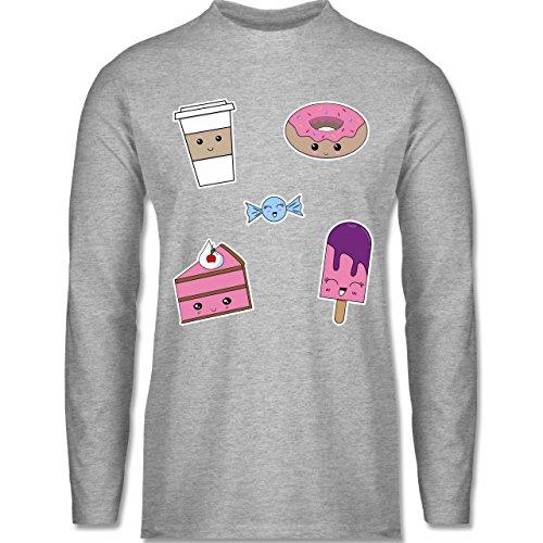 Küche - Kawaii Sweets - Longsleeve / langärmeliges T-Shirt für Herren Grau Meliert