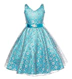 Arrowhunt Girls' Sleeveless V-Neck Lace Flower Bridesmaid Party Ball Gown Dress