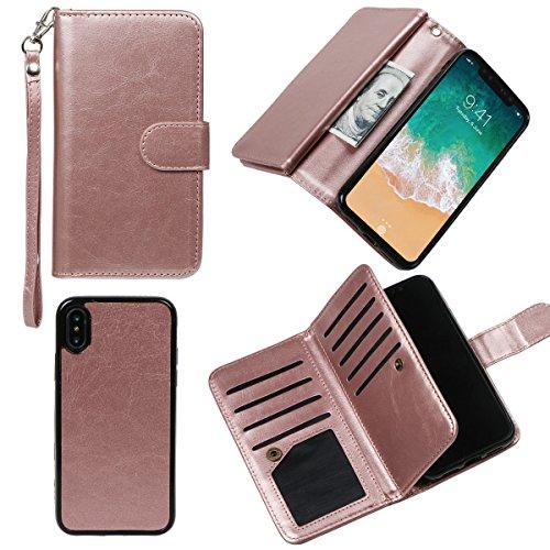 xhorizon MLK étui en Cuir de Haute Qualité Portefeuille Porte-monnaie Magnétique Amovible Détachable Séparable Sac à Main Souple Compartiments Couvercle pour Cartes Multiples pour iPhone X / iPhone 10 Or rose