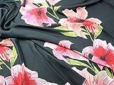 John Kaldor groß Floral Print Slinky Satin Kleid Stoff,
