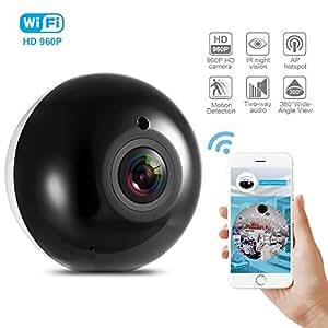 Videocamera di Sorveglianza Fisheye Panoramico HD Telecamera IP Camera 960P, Joyhero Sricam SP022 Telecamera per la Sicurezza Interna con Notifiche Push, Visione Notturna a IR e Audio Bidirezionale