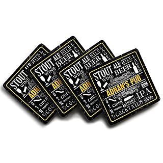 Adnan's Pub, Personalised Name, Pub Drink Text Design, Four Coaster Set, Good Quality, 90mm x 90mm.