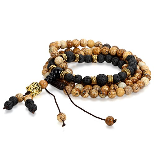 Cupimatch 6mm Damen Herren Zen-Buddhismus Armreif Energie Therapie Energiestein Lavastein Wurzel Chakra Yoga Buddha-Armband Halskette, Verstellbare Größe, Schwarz -