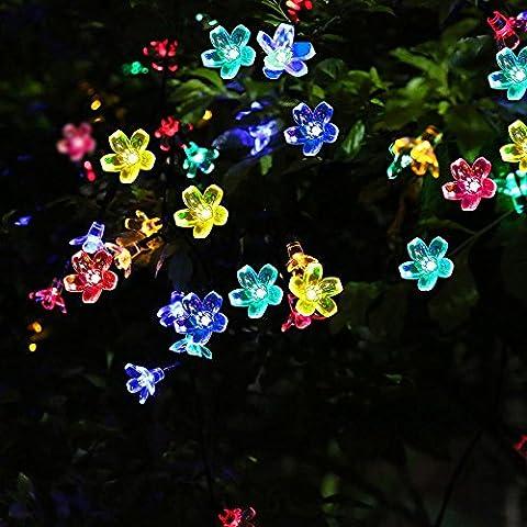 Solar Lichterkette Garten,LED Lichterkette Blume,Pomisty Lichterkette Drausen Wasserdicht ,50 Leds Multi-Color Lichterkette Terrasse Bunt,Dekoratives Solarleuchten Dekoratives Licht für Garten, Bäume, Terrasse, Weihnachten, Hochzeiten, Partys, Innen- und (Mehrfarbig)