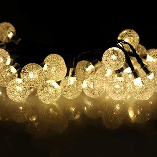 Usboo Outdoor Solar-Lichterkette für Weihnachten und Party Hochzeit Weihnachten Dekoration, solarbetrieben, wasserdicht, Globe Garten Lichterkette, 8Modi, 30Glühbirnen (Montage Status Panel)