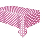 Unique Party Plastic Hot Pink Polka Dot Tablecloth, 9ft x 4.5ft