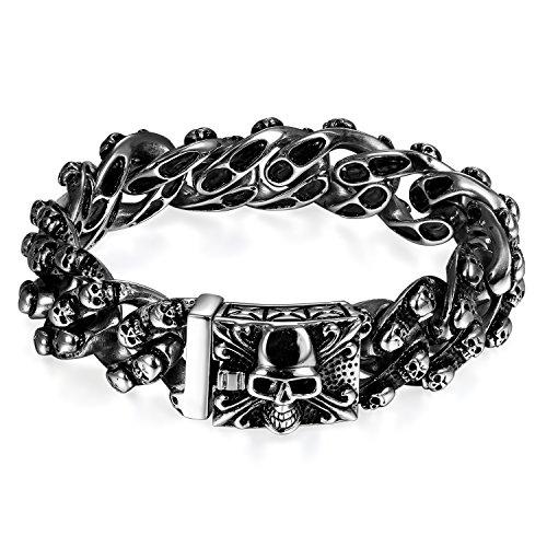 JewelryWe Schmuck Herren Biker Armband, Gotik Poliert Großes Edelstahl Panzerkette Armkette Armreif mit Fleur de Lis und Totenkopf Schädel, ()