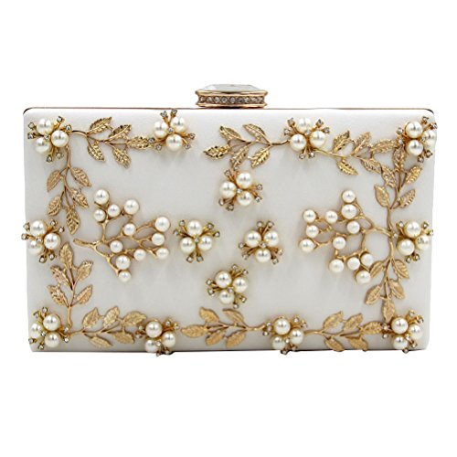Zhhlaixing bellissime borse Latest Fashion Designer Handbags Bead Flowers Pearl Rhinestones Small Bags Evening per Donne White