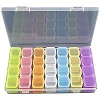 ounona joyas organizador plástico caja de almacenamiento con divisores extraíbles anillos pendientes collares de almacenamiento de almacenamiento (Multicolor)