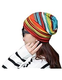 ce882fab0cc Women Stretchy Striped Turban Head Wrap Band Chemo Hat Bandana Pleated Cap