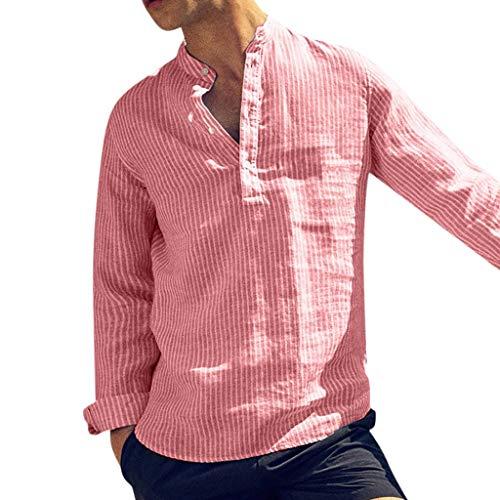 BHYDRY Mens Casual Leinen Knopf Einfache Langarm Streifen Lose T-Shirt Bluse Top(Medium,Rot) (Streifen-boy-kurze)