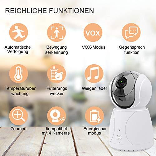 Bable Babyphone mit Kamera G1, 5 Zoll Großer Bildschirm Babyfon mit Fernbedienung Kamera, 300 Meter Signalreichweite, automatische Verfolgung, Ton und Temperaturalarm, Nachtsicht, Wiegenlied und Zweiwege Audio - 6