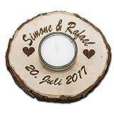 Teelicht in Holz Rindenscheibe rund mit Glaseinsatz mit personalisierter Gravur Durchmesser ca. 11 cm mit Gravur Ihres Namen, Motives oder Wunschtext