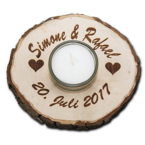 Teelicht in Holz Rindenscheibe rund mit Glaseinsatz mit personalisierter Gravur Durchmesser ca. 11 cm mit Gravur Ihres Namen, Motives oder Wunschtext Schlüssel Und E-mail-aufhänger